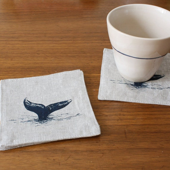 whale coasters, set of 4
