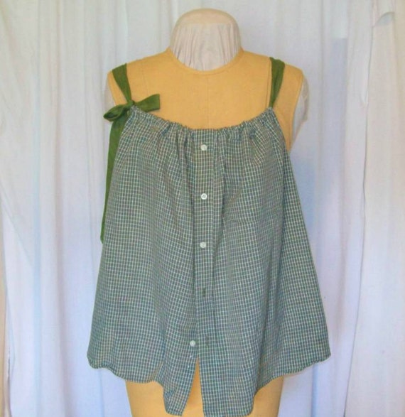 Button Down tank - Olive green and white check with Olive tie