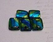 Blue Green Foil Glass beads