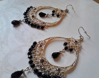 Golden Nights Rhinestone Chandelier Earrings