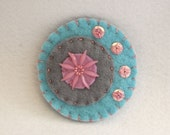 SALE Pastel colours and a flower, handmade felt pin, handmade felt brooch