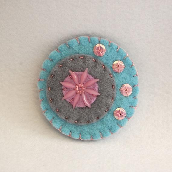 SALE Pastel colours and a flower, handmade felt pin, handmade felt brooch