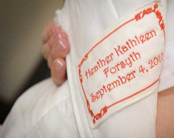 Embroidered Wedding Dress Label Tag With Border