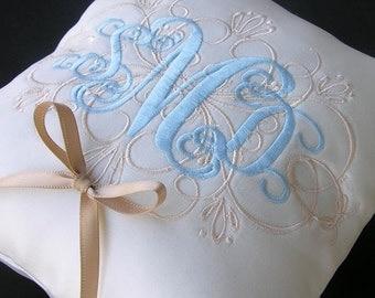 Wedding Ring Pillow with Custom filigree design and monogram