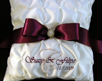 Wedding Ring Pillow with Custom Embroidery