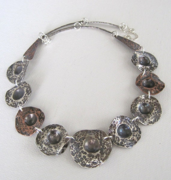 Metal Shell, Sterling Silver and Copper Necklace