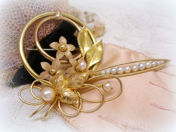 instant collection vintage gold.filled and pearl brooches . white pearls . floral . spray . bar pin