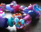 Flamenco Cobalt Blue Purple Swarovski Lampwork Resin Cats Eye Bracelet