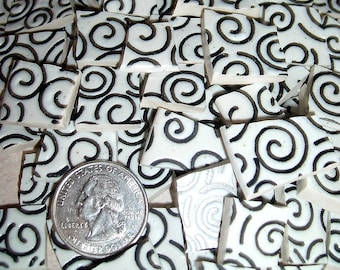 100 Mosaic Plate Tiles, Wild Curly Q Spiral Pattern, Black on White