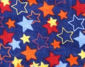 STAR FABRIC Blue courderoy stars 12 x 42 inches 1/3 yard
