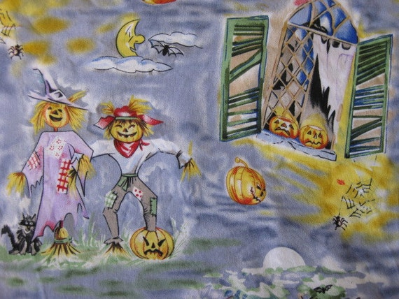 Halloween Village with haunted houses and ghosts fabric 2 yards