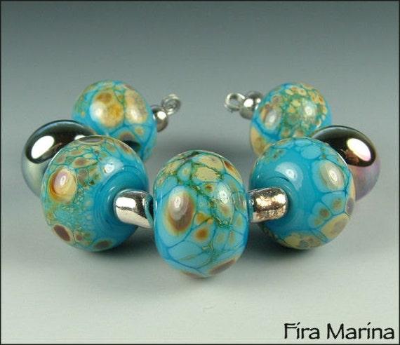 SALE - TRIBAL TURQUOISE - Glass Lampwork Beads