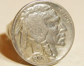 Vintage Native American Coin Ring Buffalo Nickel Sizes 5.5 6 7