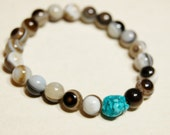 Agate Elastic Stretch Bracelet Banded Bullseye beaded with Natural Turquoise Nugget Bead