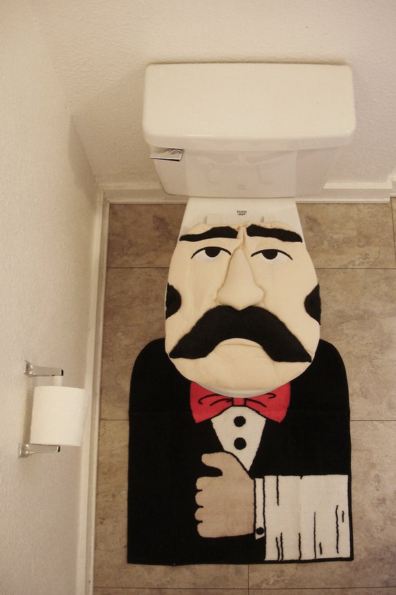 Mustache Butler Toilet Seat cover with rug amazing deadstock NOS 1992 1990 kitsch party funny geekery mustache