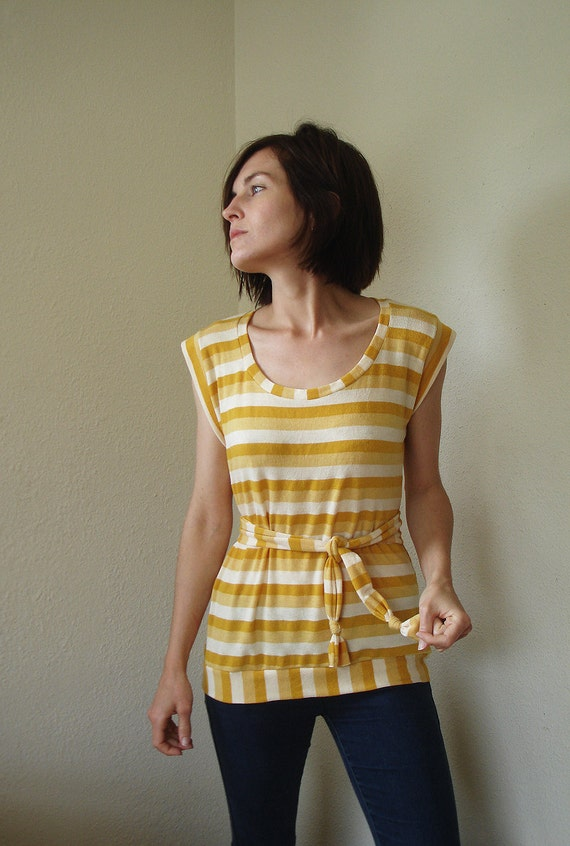 Striped Miss Lemon yellow blouse top summer stretch knit sash Spicy Toast