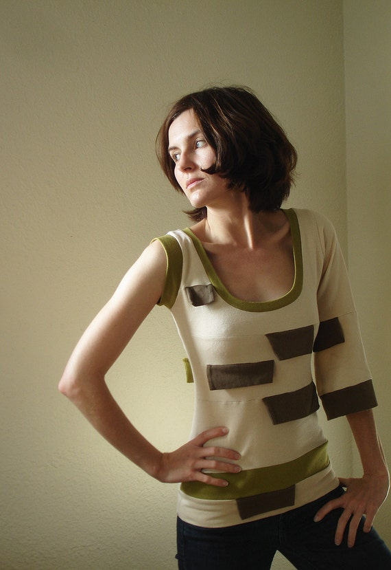 Spicy Toast one sleeve tab blouse shirt cream with grey and olive green small/medium