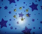 SALE Tiny Stars Dimensional Brass Jewelry Star Charms on Etsy x 6