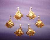 SALE Tropical Fish Left and Right Facing Brass Jewelry Charms on Etsy x3Pair