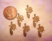 Daffodil Charms Brass Flower Jewelry Findings Aceo Crazy Quilt ScrapBook Art on Etsy x 6
