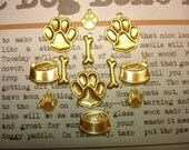Pet Jewelry Charms Set of 12 Paws/Bones/Bowls Brass Supplies on Etsy