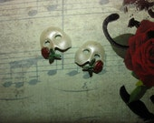 Phantom of the Opera Mask Pearl White/Red Rose with Green Stem Left and Right Charms on Etsy X 1 Pair