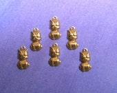 SALE 6 Tiny Kitty Brass Charms on Etsy 1.00