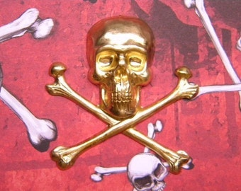 Skull and Crossbones Halloween Supplies Brass Stamping/Charm on Etsy x 1