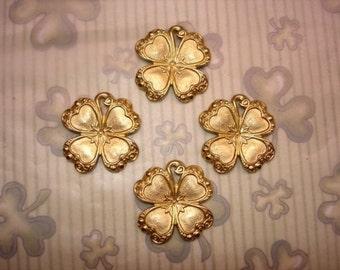 Shamrock Fancy 4 Leaf Clover Brass Jewelry Charms on Etsy x 4