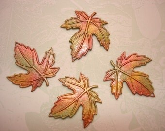 Maple Leaves Iridized Autumn Shades Jewelry Charms/Earrings/Craft x 4