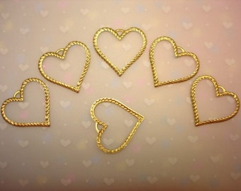 Heart CHARMS Large Open Rope Outline Brass Jewelry Charms/Earrings/Craft with loop on Etsy x 6