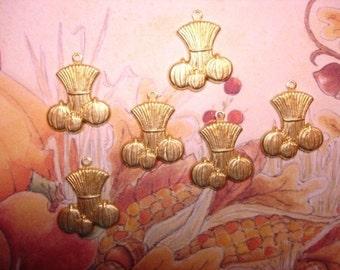 Corn Stalks Pumpkins Brass Autumn Harvest Scene Charms on Etsy x 6