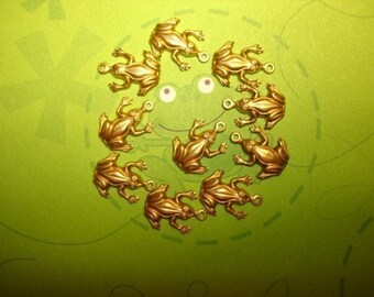 Small Frog Charms Brass Findings on Etsy x12