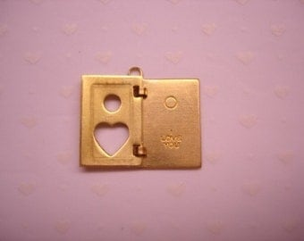 Heart Book I Love You Hinged Book Brass Charm that Opens on Etsy x 1
