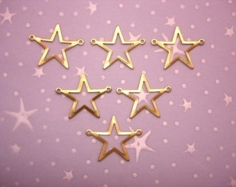 Star Connector Open Center Brass Jewelry Links on Etsy x6