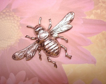 Queen Bee, Large Bee, Silver Tone Stamping x 1