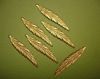 Feather Leaf Charms Very Long Narrow FLAT Brass Charms/Earrings/Pendant/Craft on Etsy x 6