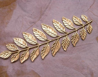 Very Long Stem of 19 Brass Leaves Stamping/Pliable on Etsy x1