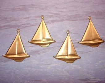 Sailboat Charms, Nautical Supply, Brass Findings x 4