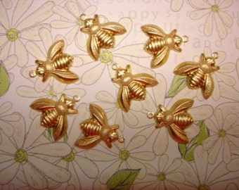 Honey Bee Jewelry Charms Brass Supplies on Etsy x 8
