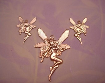 Faries Set of 3 Matching Brass Fairy CharmsJewelry Pendant/Earrings on Etsy