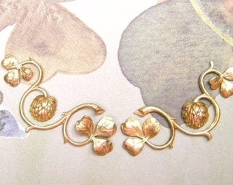 Clover Vines Matched Set of Left and Right Facing Brass Stampings on Etsy x 1 Pair