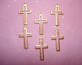 Cross Open Center Stencil Brass Christain Jewelry Charms on Etsy USA Made x 6