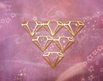 Diamond Floaters Stampings Connector Supplies on Etsy x 6