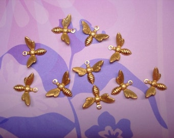 Small Bee Charms, Open Wings, Brass Supplies WITH RINGS x 10