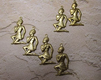 Egyptian Servant Kneeling Servant Brass Charms on Etsy x 6