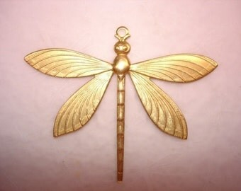 Dragonfly XL Brass Jewelry Charm/Pendant/Mixed Media on Etsy x 1
