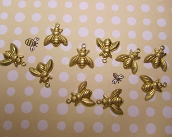 Baby Honey Bee Small Bees Brass Charms on Etsy USA Made x10