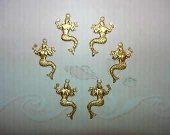 Mermaids Grooming Nautical Supplies 3 Pair Brass Jewelry Charms on Etsy x 3 Pair