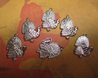 Turkey Charms Thanksgiving Charms Silver Tone Fall Jewelry Supplies /Crazy Quilt/Mixed Media Art/Collage/Craft on Etsy x 6